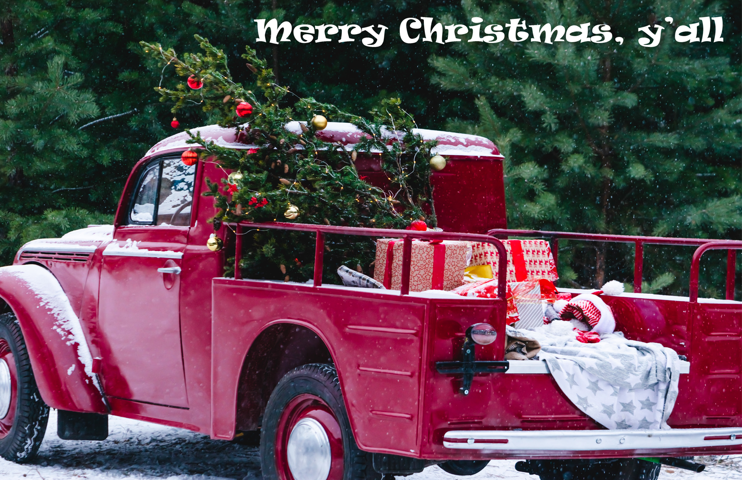 2020 Merry Christmas Y'all Truck Greeting Card